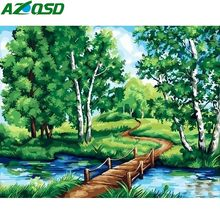 AZQSD HandPainted Tree Oil Painting Landscape On Canvas Palette Paintings For Living Room Modern Abstract Wall Art Pictures DIY(China)