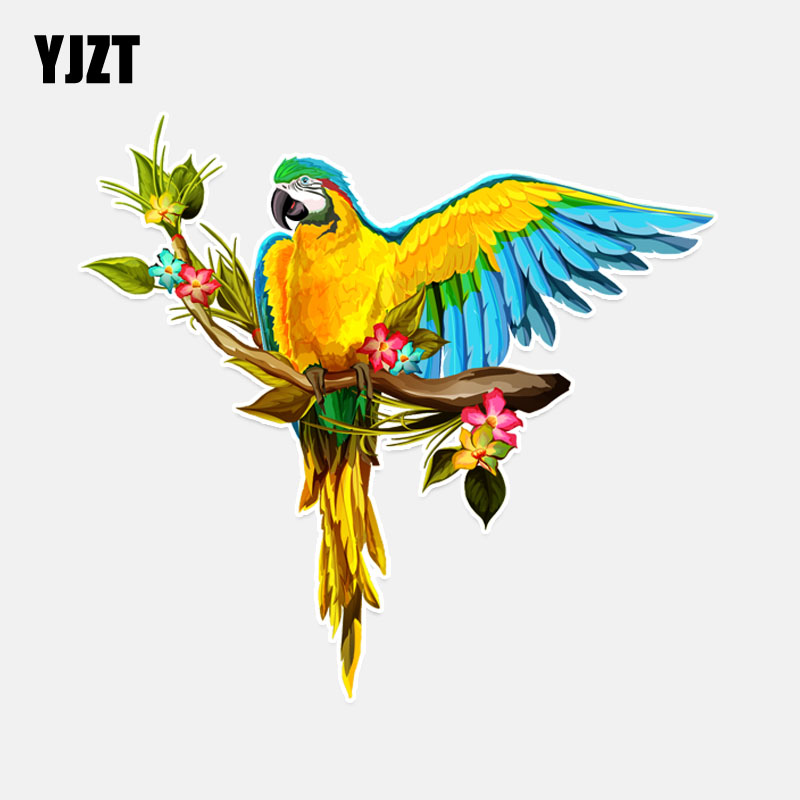 YJZT 14*13CM Interesting Parrot With Wings Flight PVC Colored Decor Car Sticker Personalized High Quality 11A0123