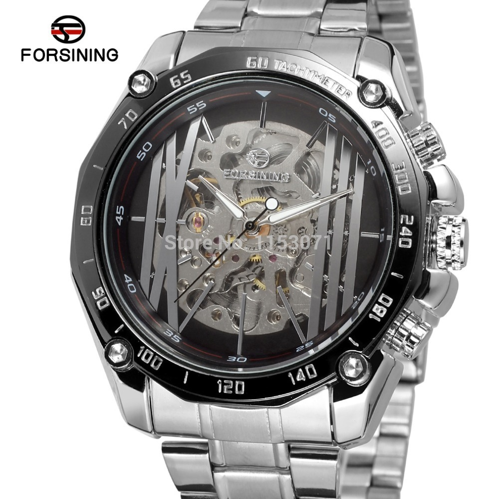 NEW!FSG8068M4T3 FASHION DESIGN FOR MEN Automatic watch silver color case black dial with silver bars and big roman number kameo bis kameo bis mp002xw0o591