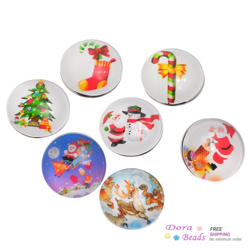DoreenBeads Glass Nice Snap Buttons Fit Nice Bracelets Round Mixed Christmas Pattern 18mm,12PCs (K80001) image