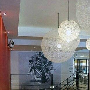 American Country Restaurant Bar Cafe Bedroom Modern Minimalist Rattan Round Hemp Yarn Ball Chandelier