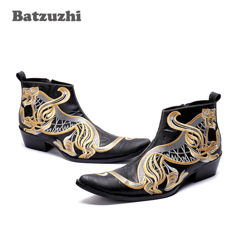 Batzuzhi อิตาเลี่ยนยี่ห้อผู้ชายรองเท้าชี้ Toe ฤดูใบไม้ร่วงฤดูหนาว Boos ผู้ชาย Super Star Rock บู๊ทส์ผู้ชาย zapatos de hombre