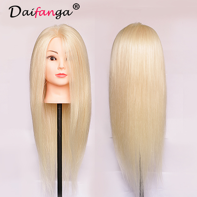 2017 New Blonde Hair Mannequin Head Hairdresser Manikin Hairdressing Mannequins Hairdress Practice