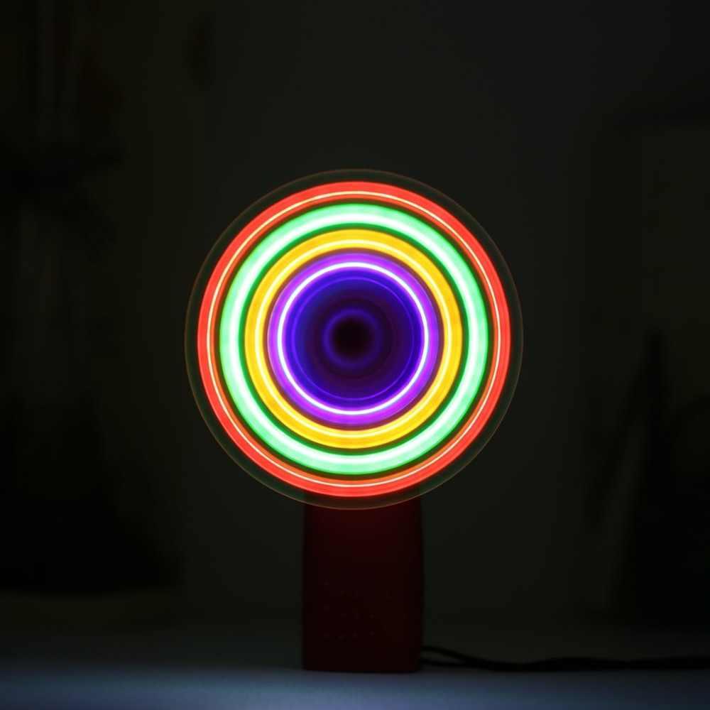 Mini Air Cool Fan Matrix Saku Pendingin Handheld Fan dengan Lampu LED Lanyard untuk Perjalanan Darurat Mainan Bayi Menggunakan Baterai