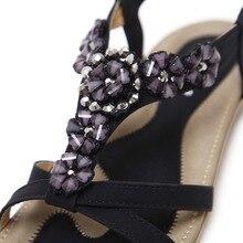 SIKETU New Bohemia sandals shoes woman fashion rhinestone flower soft flat beach sandals Elastic band ethnic Sandals 35-45