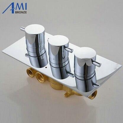 3 Mostradores 3 Maneiras Válvula Termostática Mixer Torneira em Latão Cromado Chuveiro Painel Com Desviador Torneira Do Banheiro Torneira