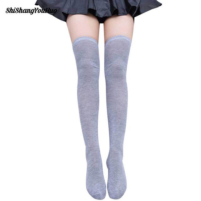 Hot Newly Fashion Sexy Cotton Over The Knee Socks Thigh High Stocking Thinner Black Grey White Mock Stockings Tights