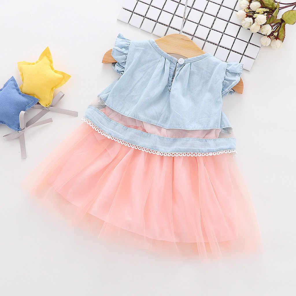 Платья для маленьких девочек с вышивкой фруктов, джинсовое кружевное платье принцессы, летнее платье для маленьких девочек, 2019 Sukienka Niemowleca