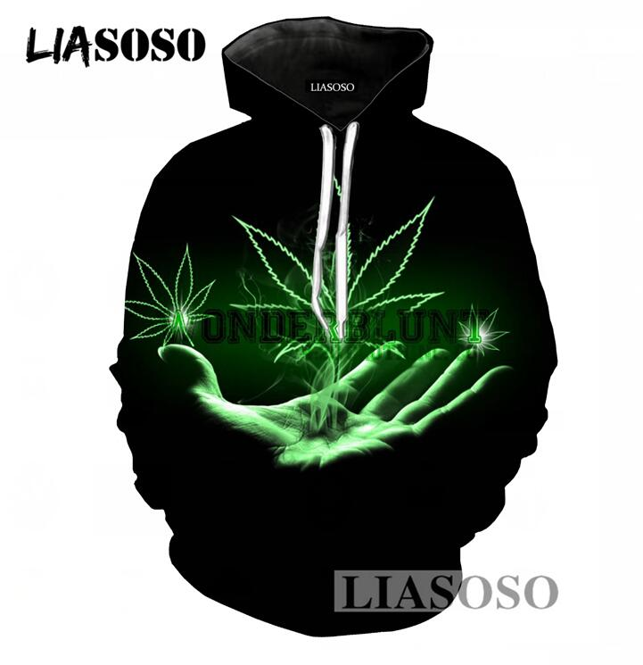 LIASOSO Pure Black Long Sleeve Hoodies Men/Women 3D Print Weed Hooded Tracksuit Casual Pullover Sweatshirt Brand Clothing T838