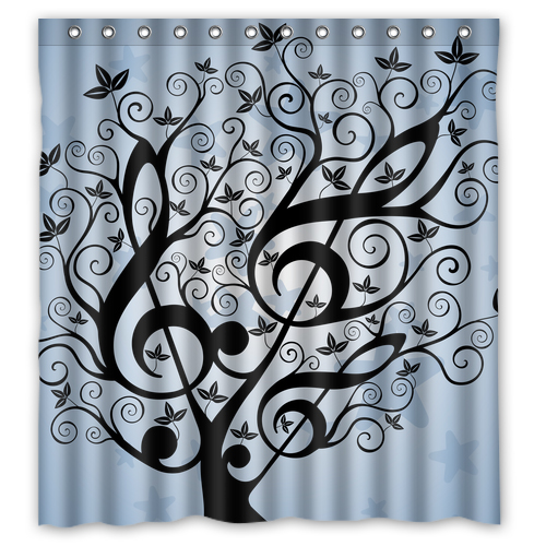 Artist Music Note Black Tree Custom Unique Waterproof Shower Curtain  Bathroom Products Curtains Size 48x72,