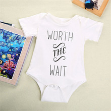 Baby Boys Girls Original Bodysuit Infant Jumpsuit Worth The Wait Print Short Sleeve Baby Clothing Set Newborn Clothes Set
