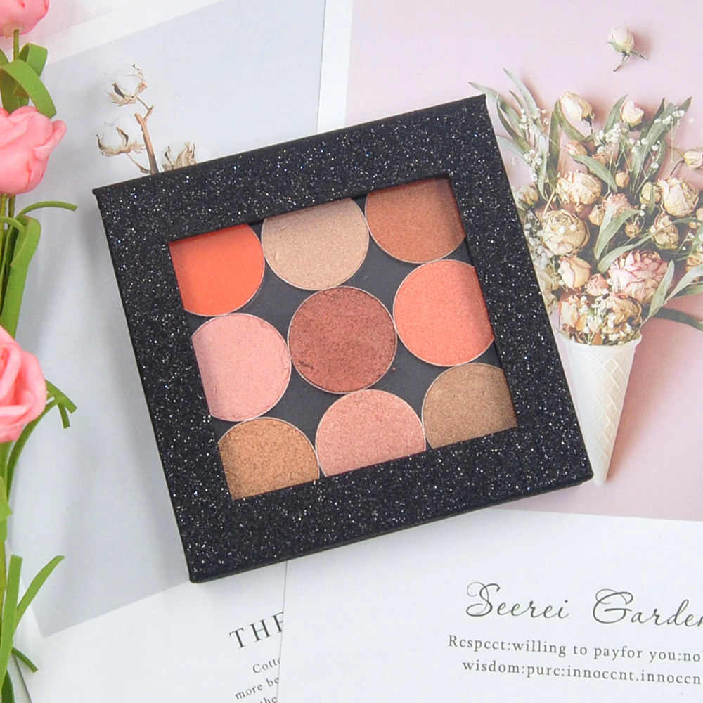 DIY Magnetic eyeshadow empty palette 10*10*1.5cm travel size glitter black eye shadow Refill Beauty Pigment Makeup Cosmetic tool