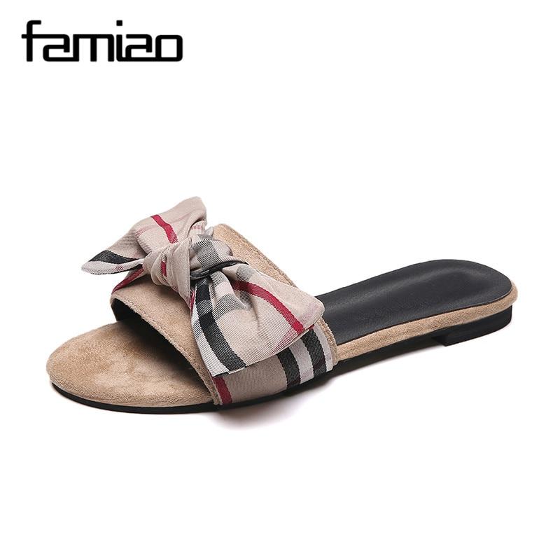 FAMIAO modne ravne ženske čevlje copate Ženske črtaste poletne - Ženski čevlji