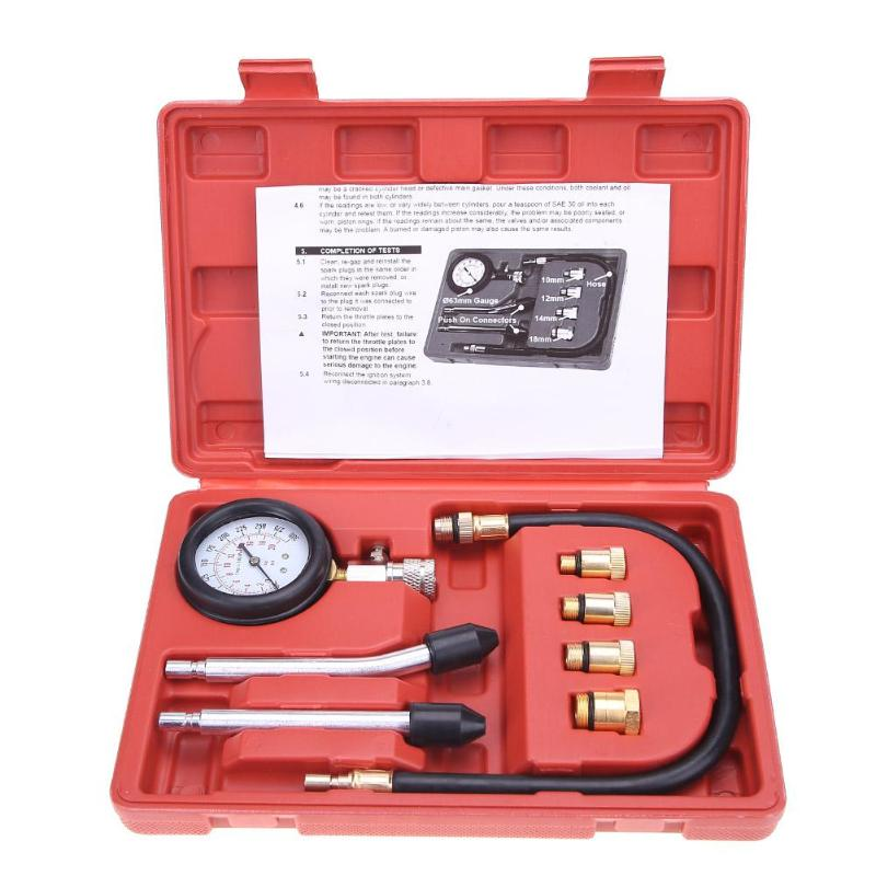 New Compression Tester Pressure Gauge Tester Kit Motor Auto Petrol Gas Engine Cylinder Motorcycle Pressure Gauge with Adapter
