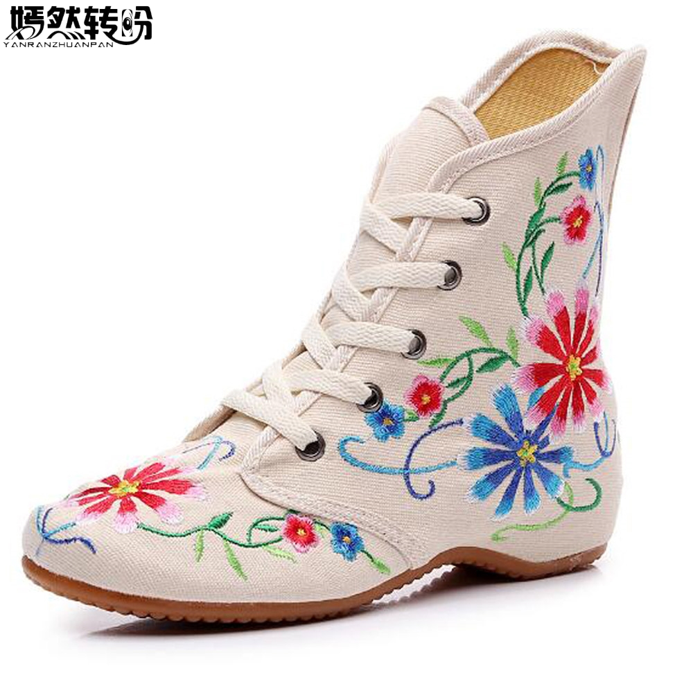 Chinese Embroidered Women Boots Casual Cotton Short Ankle Boots Lace Up Ladies Comfortable Canvas Autumn Shoes Boats Mujer