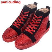 Red White Black Color Men Flats Crystal Decor Men Shoes Luxury Brand High Top Lace Up Casual Shoes Dress Travel Shoes Sneakers