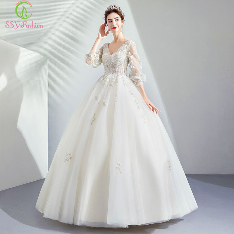 Us 94 25 35 Off Ssyfashion New Luxury Wedding Dress 3 4 Sleeves V Neck Floor Length A Line Suqines Lace Beading Bride Married Wedding Gowns In
