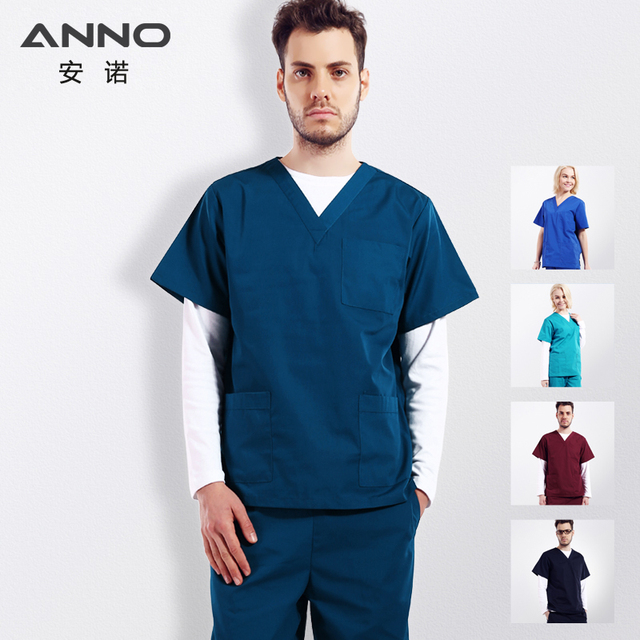 online store ee807 50414 ANNO Solid Color Medical Scrubs Set Women Man Surgery Cloths Short Sleeves  Nurse Uniform Doctor Suit Hospital Dental Grown