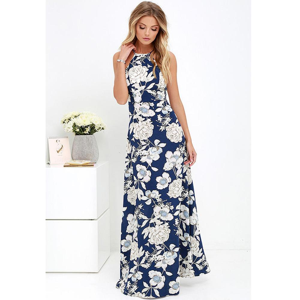 US $10.55 37% OFF|5XL Plus Size Maxi Dress Women Summer Dress 2019 Slip  Dress Floral Print Sleeveless Beach Holiday Bohemian Robe female Long  Gown-in ...
