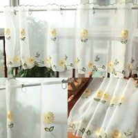 Customized 85 180cm Pastoral Style Fresh Embroidery Daisy Kitchen Cabinet Curtains Coffee Curtain Small Short Yarn