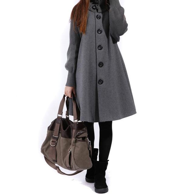 Шерстяные пальто женский Весна Осень новых женщин однобортный ветровка зима плащ вязать длинными рукавами высокого о-образным вырезом плащ