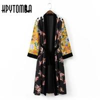 Vintage Ethnic Floral Polka Dot Print Sashes Kimono Women 2017 New Fashion Cardigan Velvet Patchwork Blouse