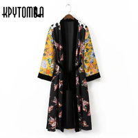 Vintage Ethnic Floral Polka Dot Print Sashes Kimono Women 2017 New Fashion Cardigan Velvet Patchwork Blouse