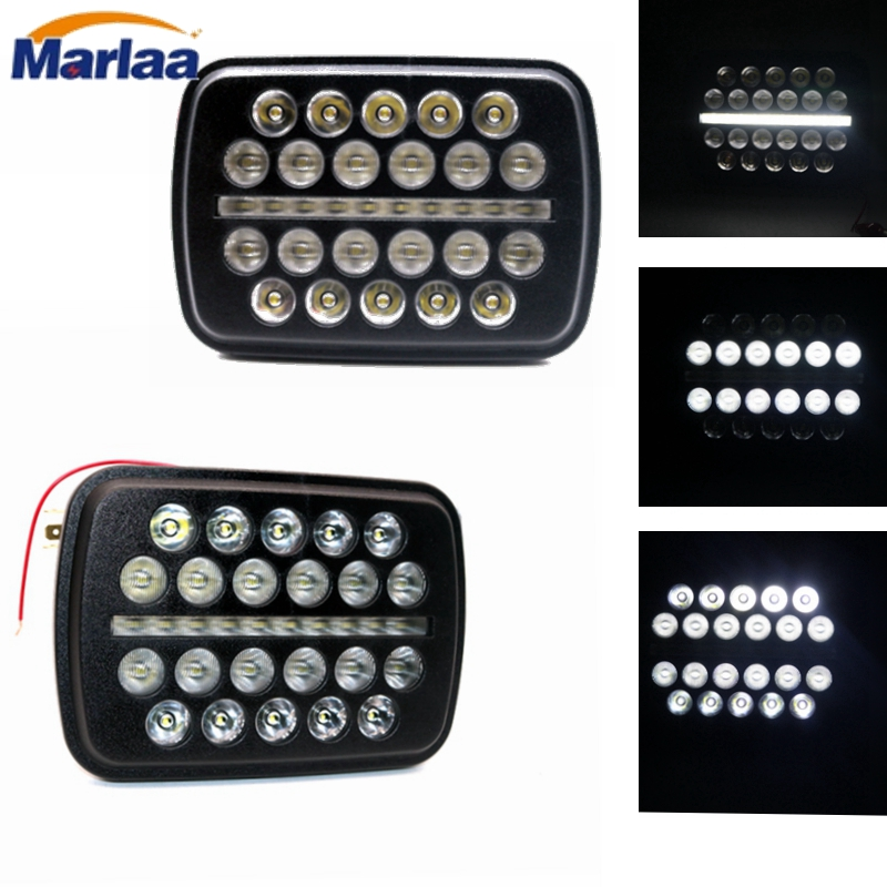 Marlaa 2Pcs Rectangle 7x6 Led Headlights 6054 5x7 Led Headlights 7x6 H4 Led Headlamp H5054 6052 For Jeep Wrangler YJ Xj Cherokee marlaa 7x 6 5 x 7 inch black projector led headlights for jeep wrangler yj cherokee xj h6054 h5054 h6054ll 69822 6052 6053