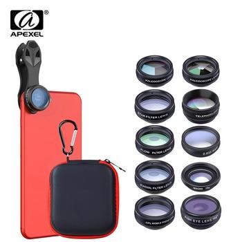 APEXEL 10in1 CellPhone Camera Lens Kit Wide Angle&Macro Lens+Fisheye Lens Telephoto Lens CPL/Flow/Star/Kaleidoscope for phones