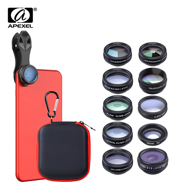 APEXEL 10in1 CellPhone Camera Lens Kit Wide Angle&Macro Lens+Fisheye Lens Telephoto Lens CPL/Flow/Star/Kaleidoscope for phones
