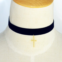 Black flannel cloth choker with cross pendant
