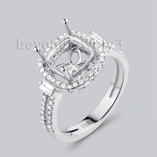 Beyond Jewelry 8X8mm Cushion Cut Engagement Ring Settings In 18K White Gold Natural Diamond G090795
