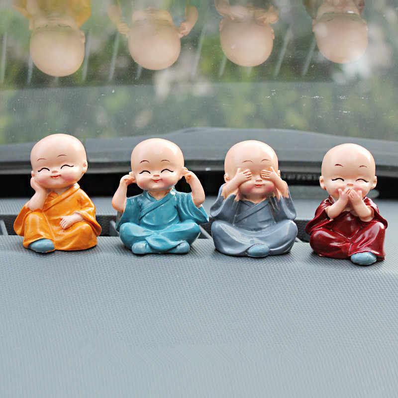 4pcs/set Little Monk Figurines Car Decoration Crafts,Home Decor Kungfu Monks Figure Car Ornament Buddha Boy Accessories