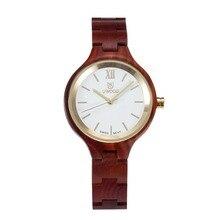 2017 UWOOD W3003B Women's Wooden Watch Quartz Wood Analog Date Display Wristwatch