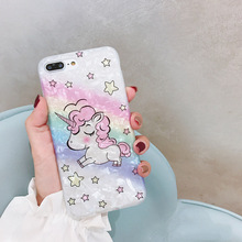 Cute Cartooon Unicorn Phone Case For iphone X Xr XS Max Case For iphone 6 6s 7 8 plus Cover Rainbow Star Fashion Soft Cases Capa