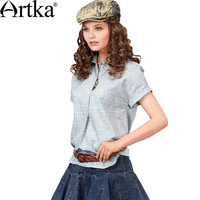Artka 2018 Summer New Asymmetric Simple 100 Cotton Plaid 3 Color Blouse Casual Short Sleeve Turn