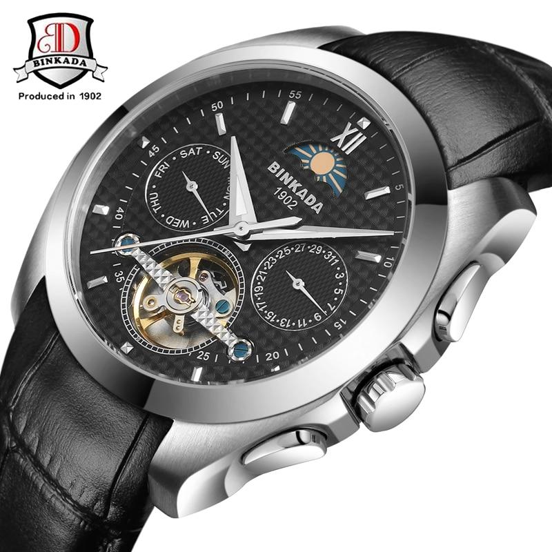 ФОТО Automatic Self-Wind Calendar Men's Watch BINKADA Military Sport Watch Relogio Masculino Leather Mechanical Watch High Quality