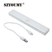 Szyoumy usb recargable wireless motion sensor 10 led armario luz de la noche con 3 m adhesivo y banda magnética 10 unids
