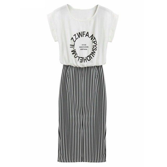 Женщины 2 в 1 цельный Письмо Печати Полосатый Блузка Dress Midi С Коротким Рукавом Bodycon Long Dress