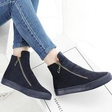 Moda inverno sapatos femininos tênis botas rebanho pele quente neve ankle boots feminino duplo zíper antiderrapante senhoras sapatos botas mujer