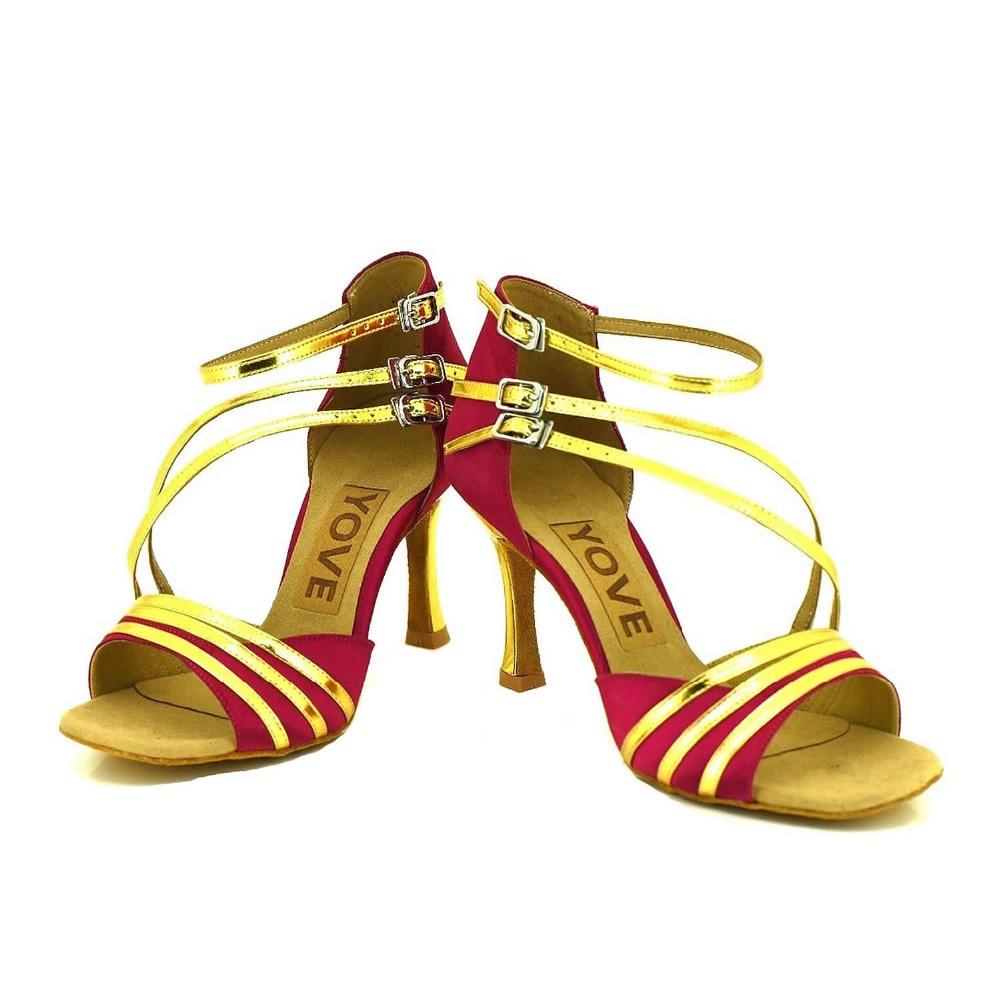 YOVE Dance font b Shoe b font Satin and PU Women s Latin font b Salsa
