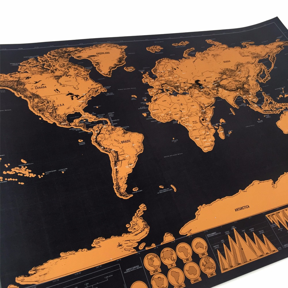 US $4.05 55% OFF|82x59cm large Wall decoration scratch off map the world  map for home decor wall art craft vintage poster scratch map travel map-in  ...