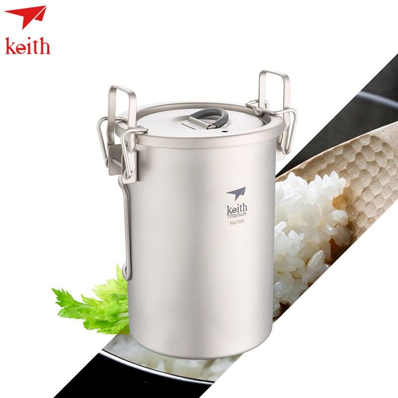 Keith 900 ml Portable Sauce Pot Titane Couverts Camping Riz Cuisinière Ultra-Léger Avec Couvercle Plié Poignée Ti6300 Drop Shipping