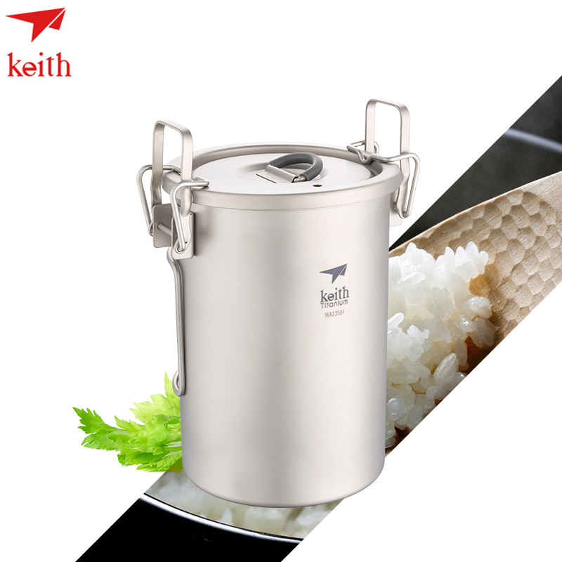 Keith 900ml Portable Sauce Pot Titanium Cutlery Camping Rice Cooker Ultralight With Cover Folded Handle Ti6300 Drop Shipping