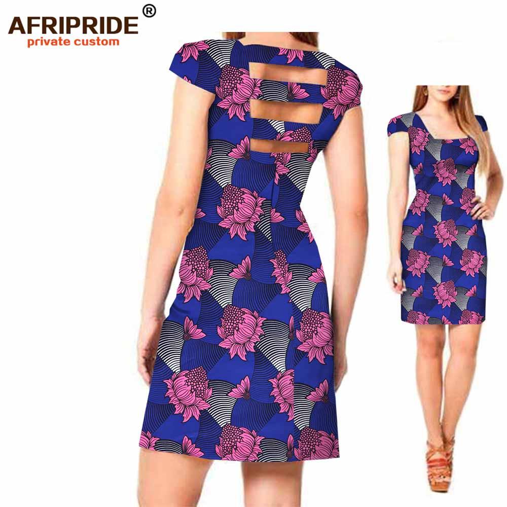 2018 Original AFRIPRIDE Private Custom New african dress Summer short sleeve above knee casual cotton dress