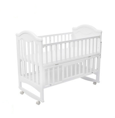 Crib solid wood baby bed BB bed multi-function newborn stitching big bed shaker