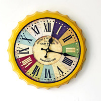 Antique Style Iron Art OLD TOWN CLOCKS Creative Beer Bottle Cups Digital Wall Clocks for Bar Home Decoration Christmas Gifts
