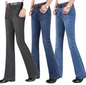 Image 1 - 2019 neue Sommer Dünne Herren Ausgestelltes Bein Jeans Hohe Taille Lange Flare Jeans Für Männer Bootcut Blue Jeans Hommes glocke bottom jeans männer