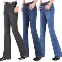 2019 novo verão fino masculino queimado perna jeans de cintura alta longo flare jeans para homens bootcut azul jeans hommes sino inferior jeans