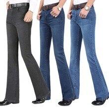 Pantalones vaqueros Acampanados para hombre, pantalón largo, de cintura alta, azul, Bootcut, para verano, 2019
